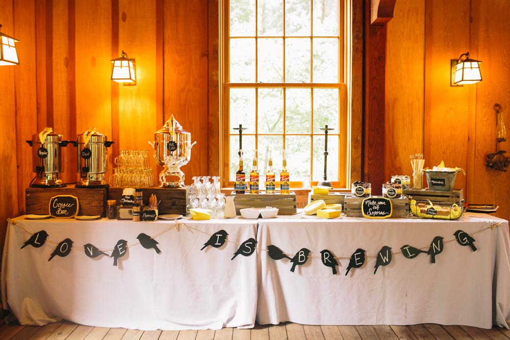 Nestldown wedding brett lindsey for Coffee bar for wedding