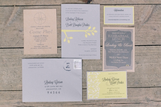 Invitations Nestldown Wedding Los Gatos California